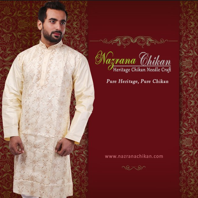 21e8d25ed7 #Nazrana's fine #crafted #cream coloured #silk #kurta for #men. Use special  coupon OFF300 @http://bit.ly/1PwD3uwpic.twitter.com/Fv6htI59a6