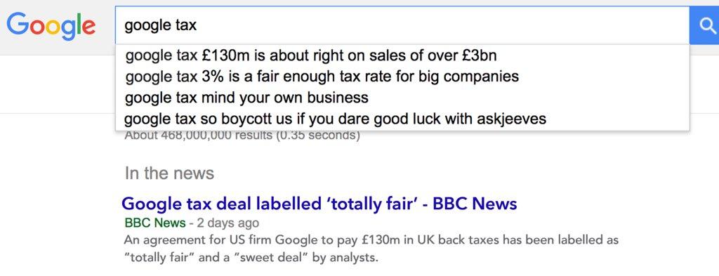 "Interesting. What happens if you put ""google tax"" into google. https://t.co/9KK4ob0mv9"