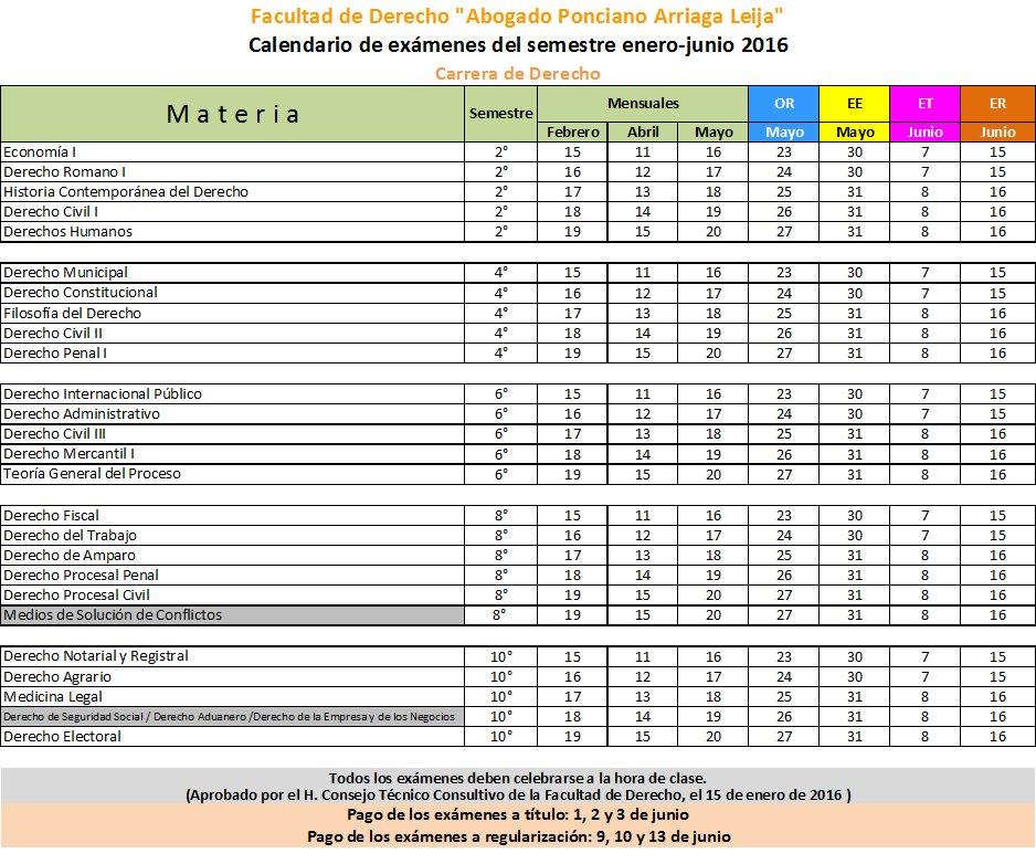Calendario De Examenes.Fac Derecho Uaslp On Twitter Calendario De Examenes Carrera De