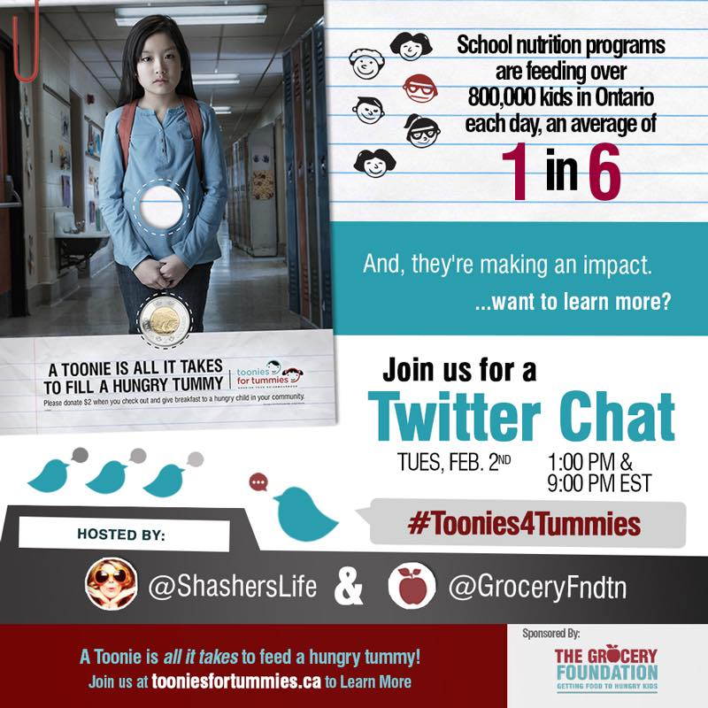 Mark your calenders for Feb.2 and participate in the @GroceryFndtn #Toonies4Tummies tweet chat! @ShashersLife #spon https://t.co/SqnDPksOEK