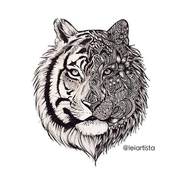 Sick drawings on twitter so much detail - Tigre mandala ...