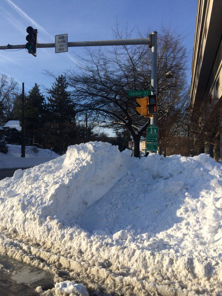 picture of snow at intersection