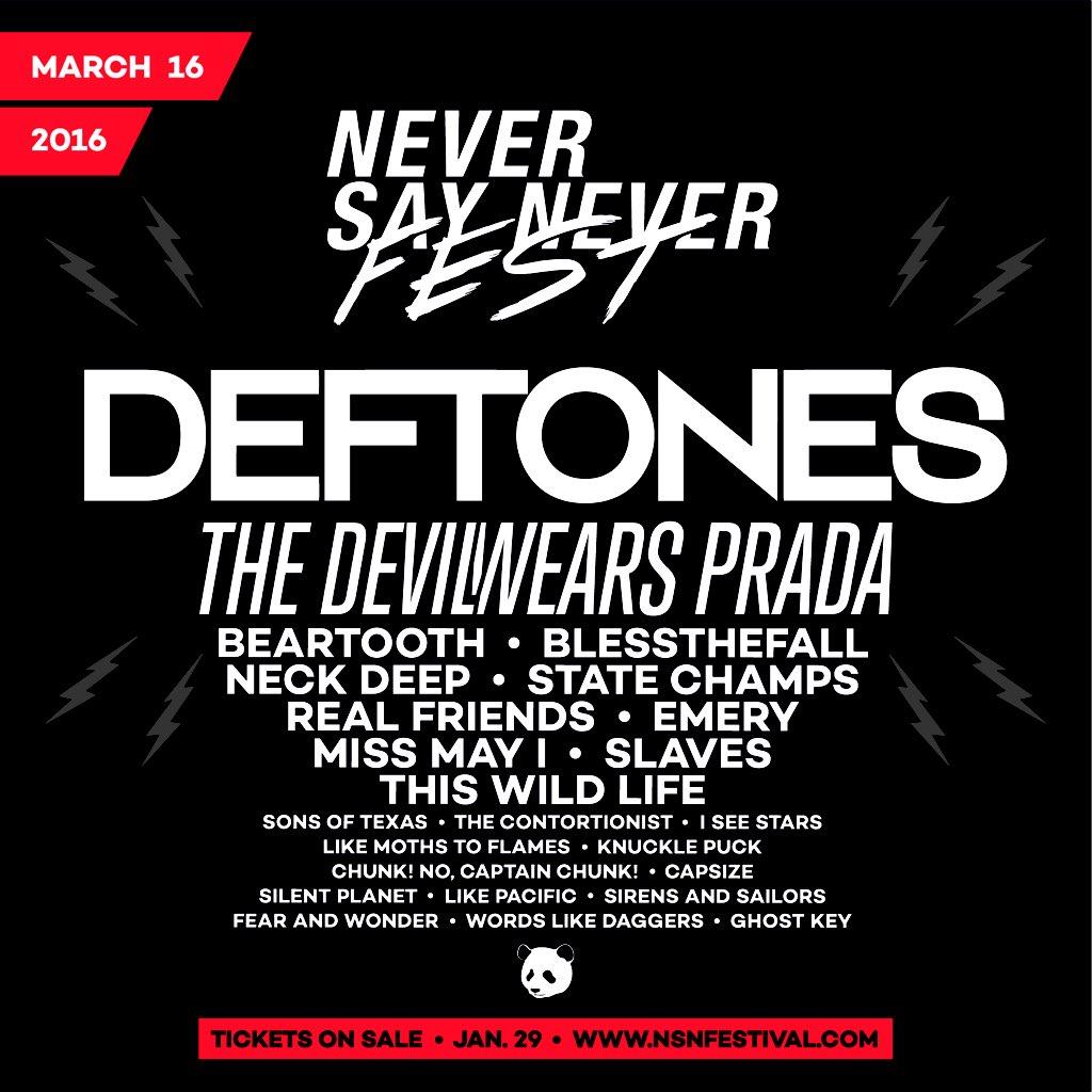 DEFTONES headlines @nsnfestival! Tickets on sale this Friday 10AM! https://t.co/cq4vshL2eZ @deftones https://t.co/WhKvndZc8v