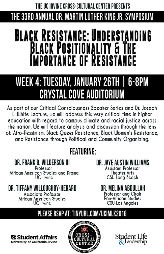 MLK symposium on importance of resistance Jan. 26:  https://t.co/VR7vGinwzi  @UCIStudentLife @UCIrvine_CCC https://t.co/v0u0De2sPH