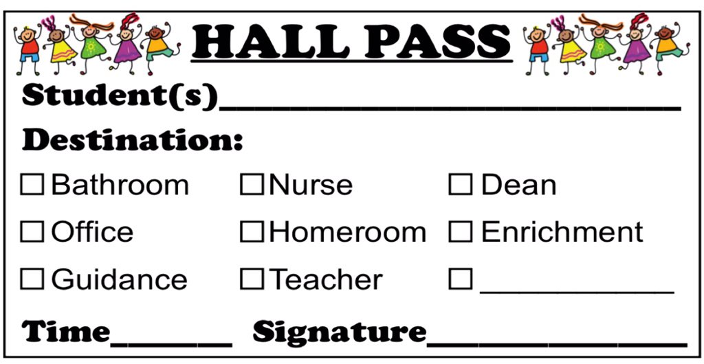 School Hall Pass Templates Maraton Ponderresearch Co