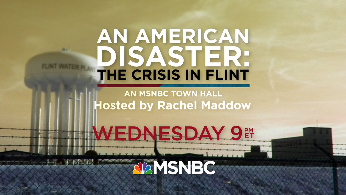 .@Maddow talks to @VirginiaTechCEE's Marc Edwards about the #FlintWaterCrisis at her #FlintTownHall meeting tonight https://t.co/i2dt7ZRjiQ
