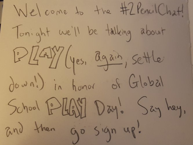 Welcome to the #2PencilChat - Go register for Global School Play Day! https://t.co/DdXWiFd3qY https://t.co/EjrDGe5vUy