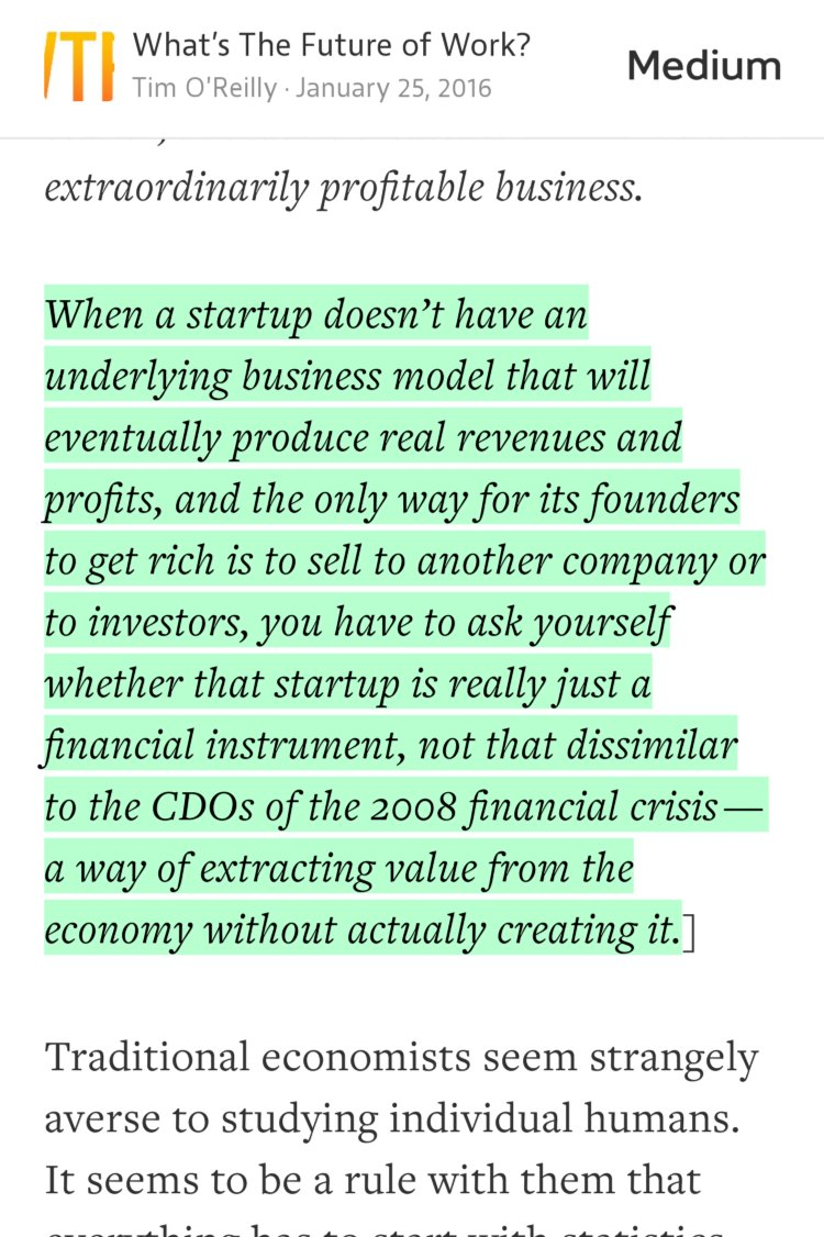 """""""When a startup doesn't have an underlying business model that will…""""—@timoreilly https://t.co/IE5X5CH54r https://t.co/agzvgz83x3"""