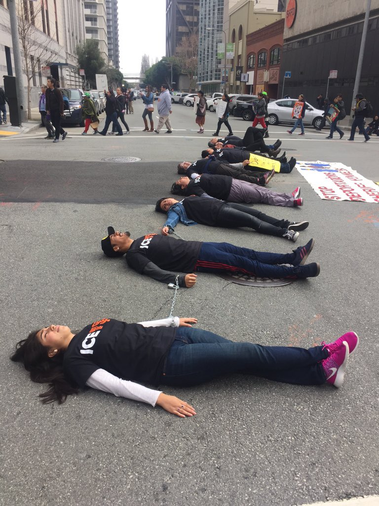 More photos Two intersections   near #ICE blocked https://t.co/eK4lUA3zjX  #ICEoutOfSF #StopTheRaids  #Not1More https://t.co/aSKhLuB8fk