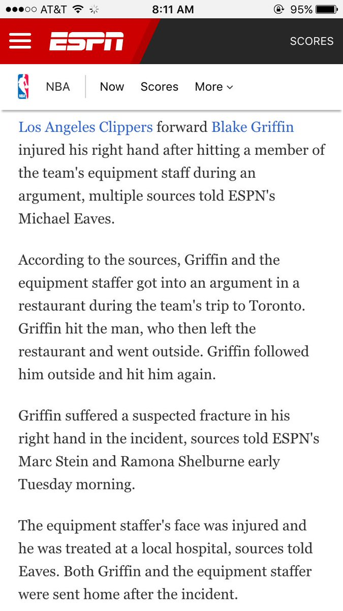 Here's the ESPN story on how Blake Griffin broke his hand. Crazy: https://t.co/NN8YDX024n