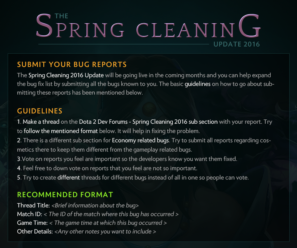 """dota 2 bug report Wykrhm Reddy on Twitter: """"The Spring Cleaning 2016 Bug Report Forum ..."""