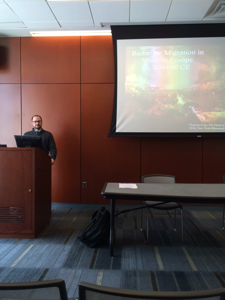Kicking off the Migration panel, Jeff Doolittle on the search for national origin in barbarian migration #HistoryDay https://t.co/0SNhy6UBSK