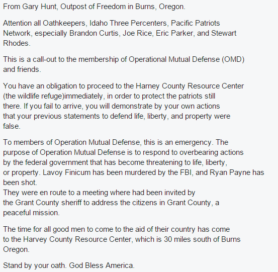 Gary Hunt calls for militias to go to the Malheur Refuge. https://t.co/VUXdeXhc9A