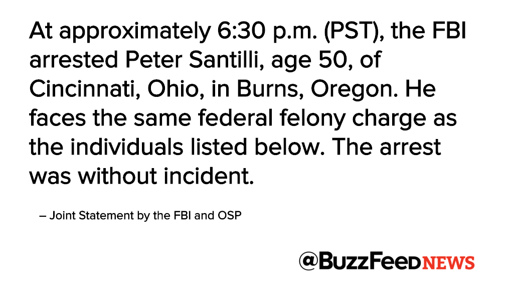 The FBI confirms that Peter Santilli has also been arrested in connection to #OregonStandoff tonight https://t.co/idMuqr7Rn4