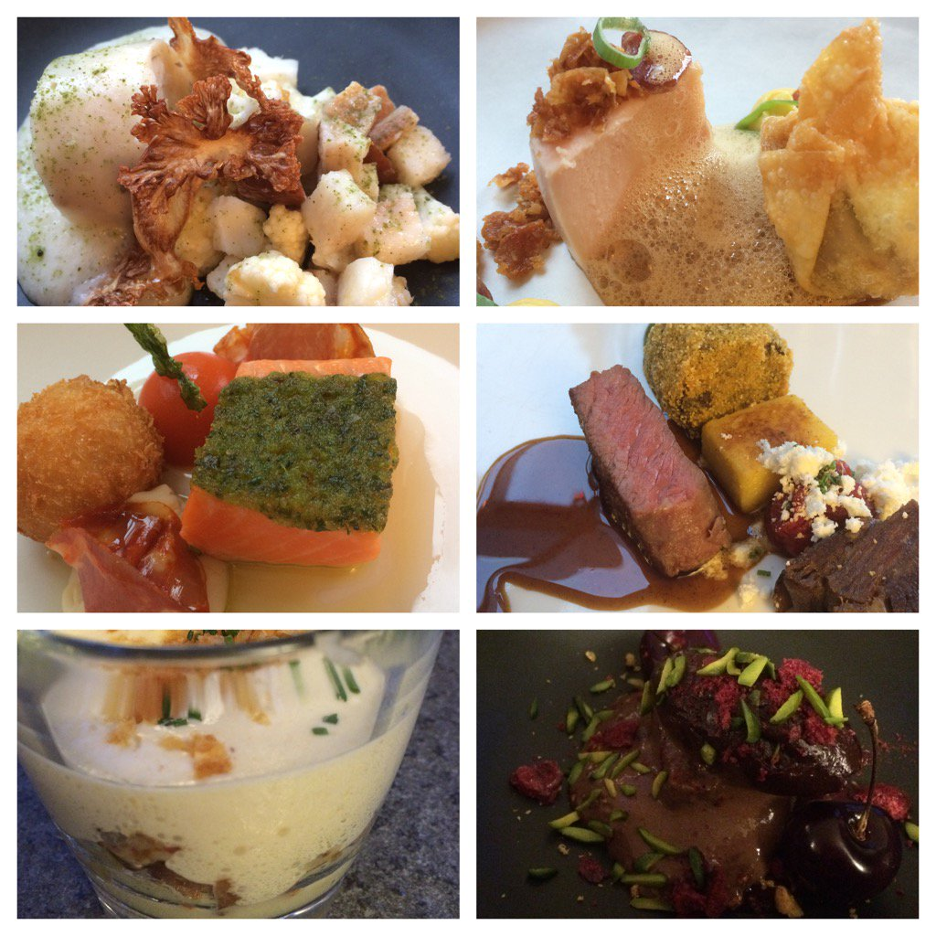 six courses of food in minature