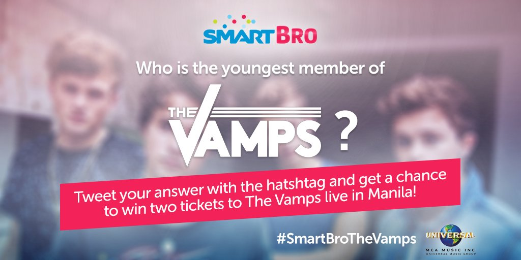 Q1: Who is the youngest member of The Vamps? Tweet us with #SmartBroTheVamps to WIN 2 lowerbox tickets! :)