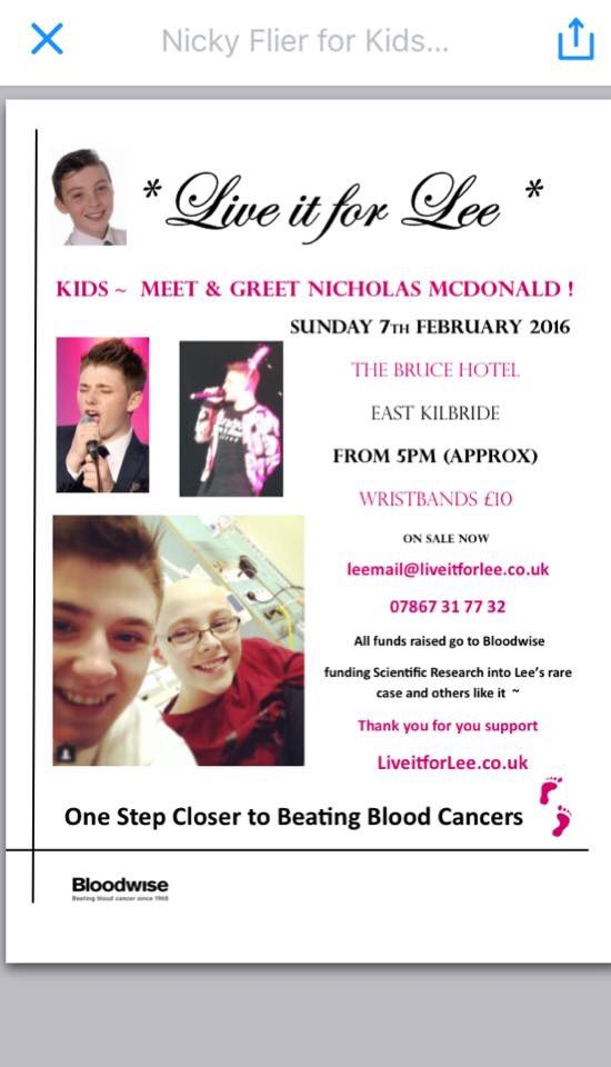 RT @LiveitforLee: Come help us support #liveitforlee dm us for ticket info also see @nickymcdonald1 live!!! Thanks for your support https:/…