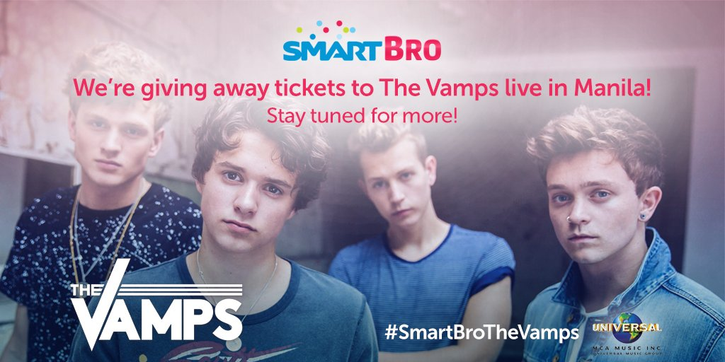 Calling all fans, are you ready to see The Vamps live? RT this and get a chance to WIN tickets! #SmartBroTheVamps :)