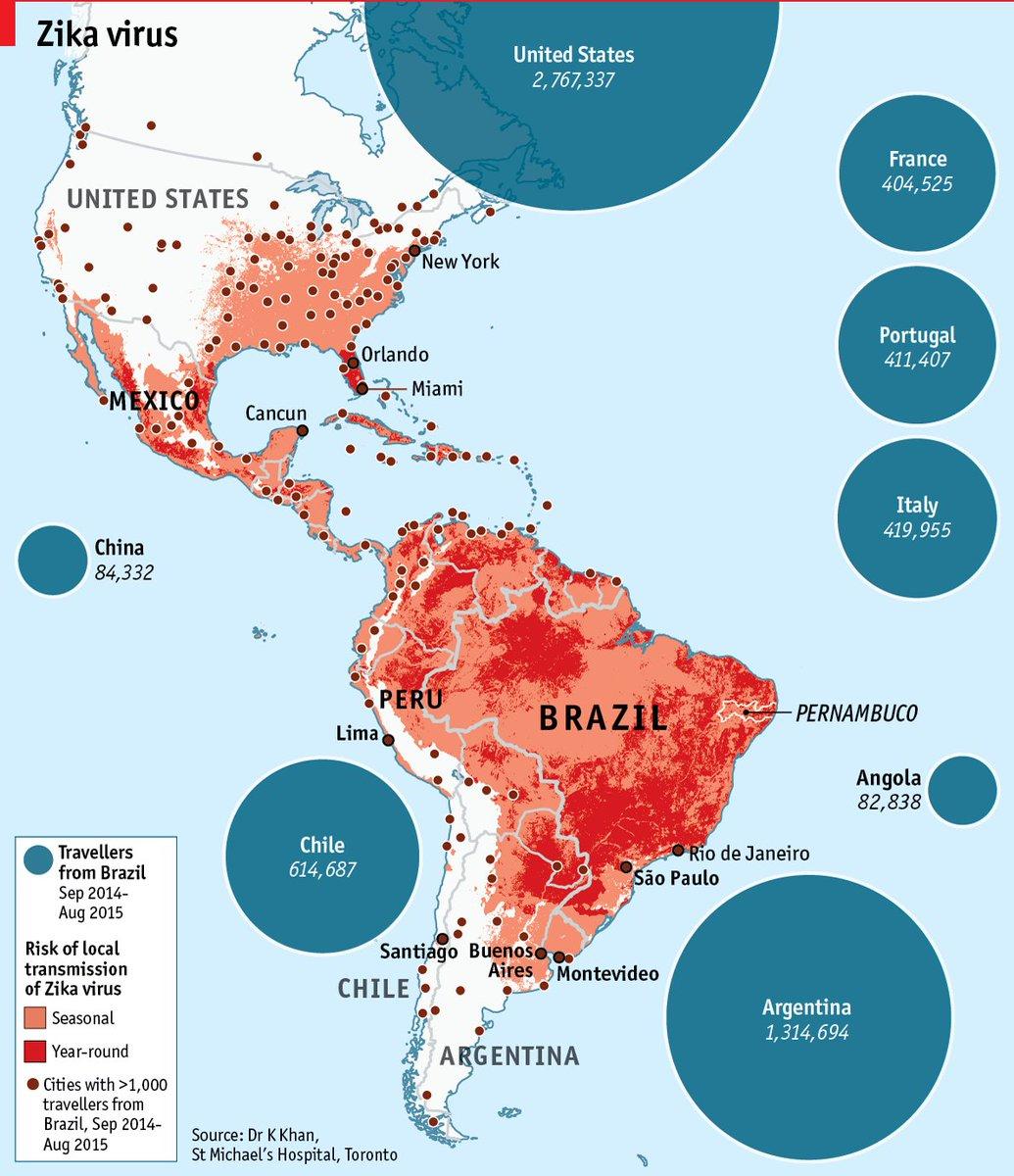 #DailyMap 27/01 L'america e #Zika. Quali sono le regioni più colpite e dove è più facile contrarre il virus https://t.co/CydbieTD1q