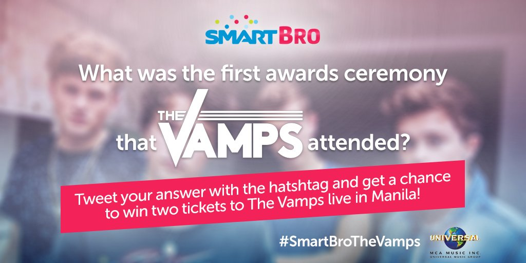 Still on question 2! Tell us which awards ceremony The Vamps first attended with #SmartBroTheVamps to WIN TICKETS :)