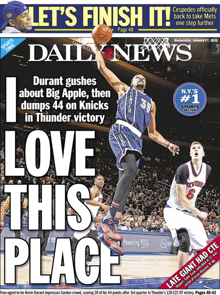 Knicks think that they're in play for Durant ...