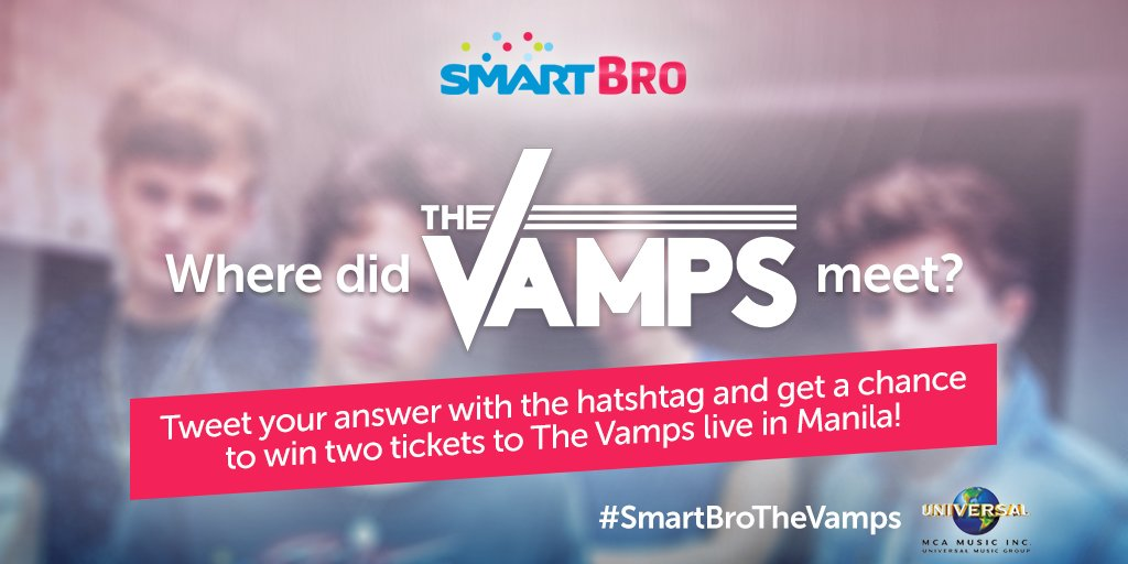 Last question guys! Where did The Vamps meet? Tweet us with #SmartBroTheVamps to WIN 2 LOWERBOX TICKETS! :)