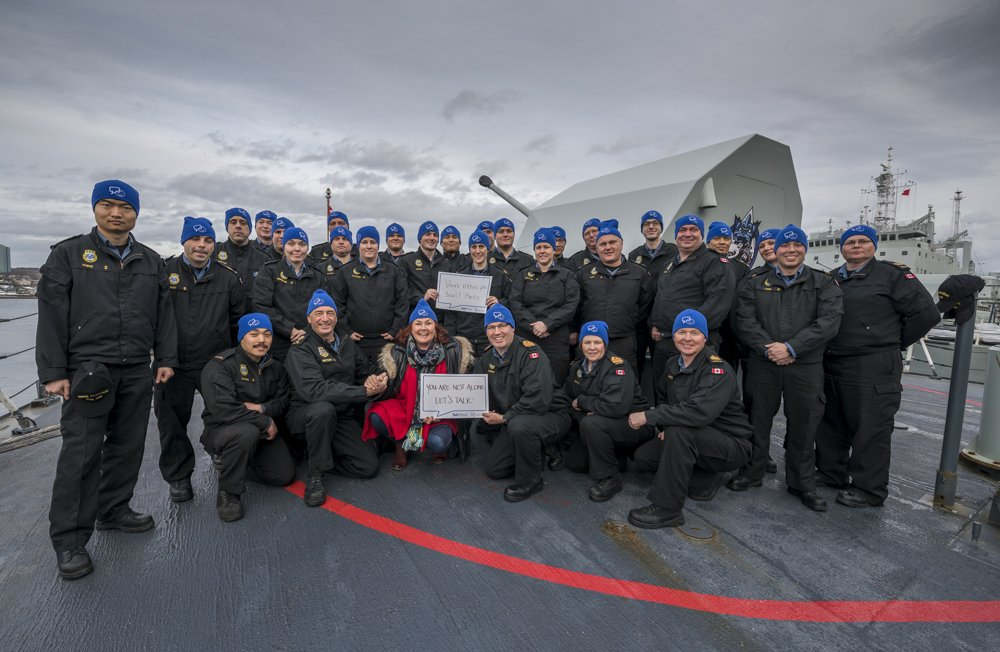Mary Walsh joins Rear-Admiral John Newton, Commander Maritime Forces Atl & crew @HMCSMontreal #BellLetsTalk https://t.co/Pi0tdSIW96