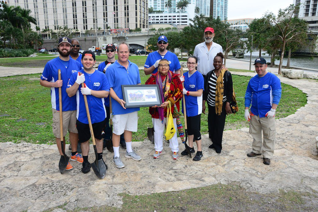 Our Blue Shirts honored and cleaned the historic Miami Circle today