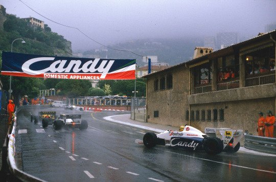 Ayrton Senna, in a wild chase for his famous 1984 second place during one of the rainiest Monaco Grands Prix ever https://t.co/XQB0rw23lB