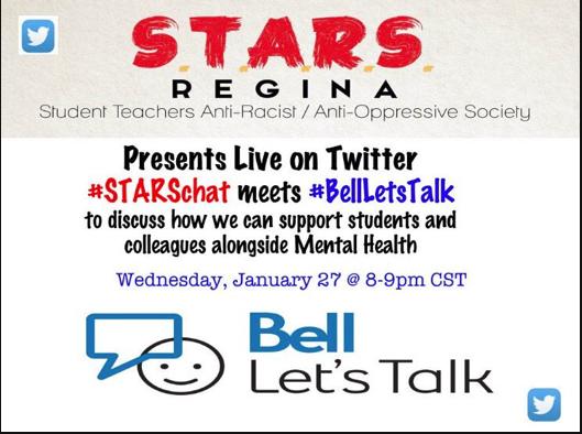 In 2 hours join #STARSchat about #mentalhealth! @STARS_Regina #saskedchat #BellLetsTalk #endthestigma https://t.co/EsI1xD60Qt