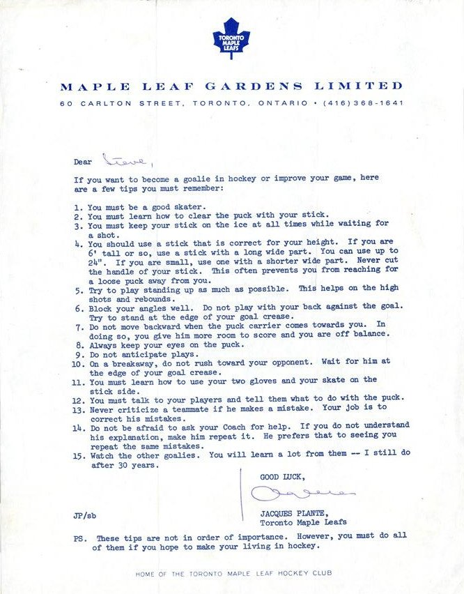 """Letters Of Note On Twitter: """"Goaltending Advice From Jacques Plante"""