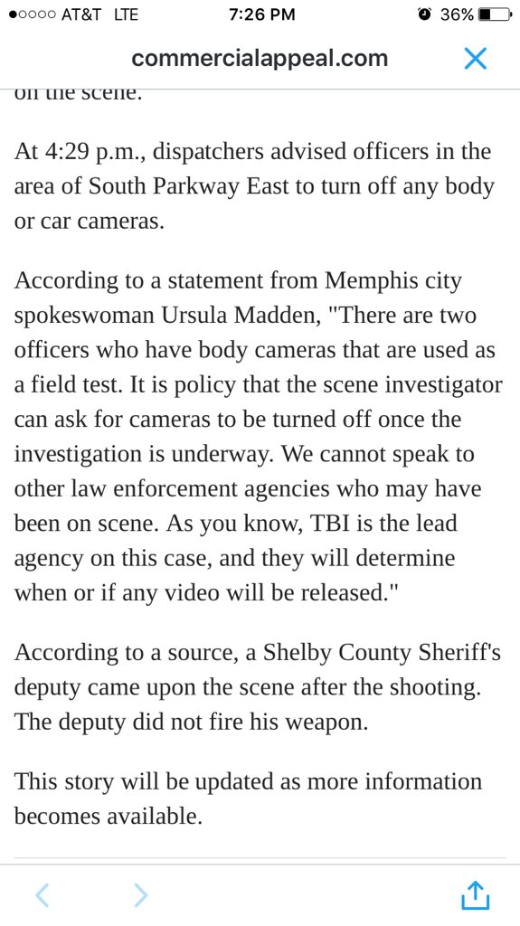 Unsatisfying answer on why police were told to turn off body/car cams after #Memphis cop killed #JonathanBratcher https://t.co/AMdQaPRX8P