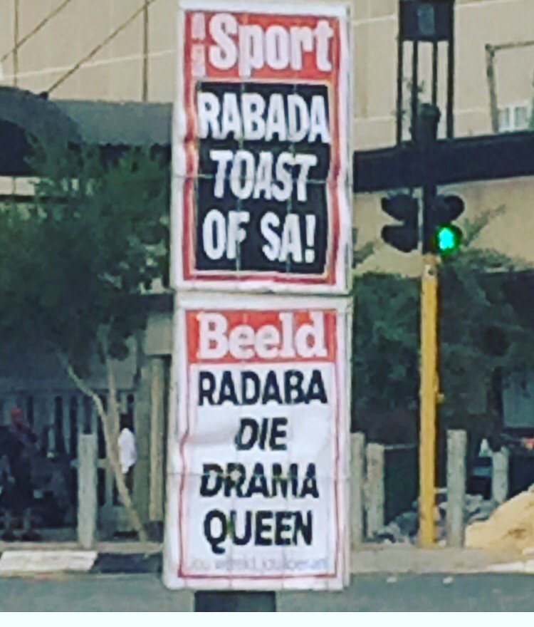 Truly fascinating that Beeld could not even find someone who knew how to spell Rabada. That's the real drama for you https://t.co/H4YwMmb0AP