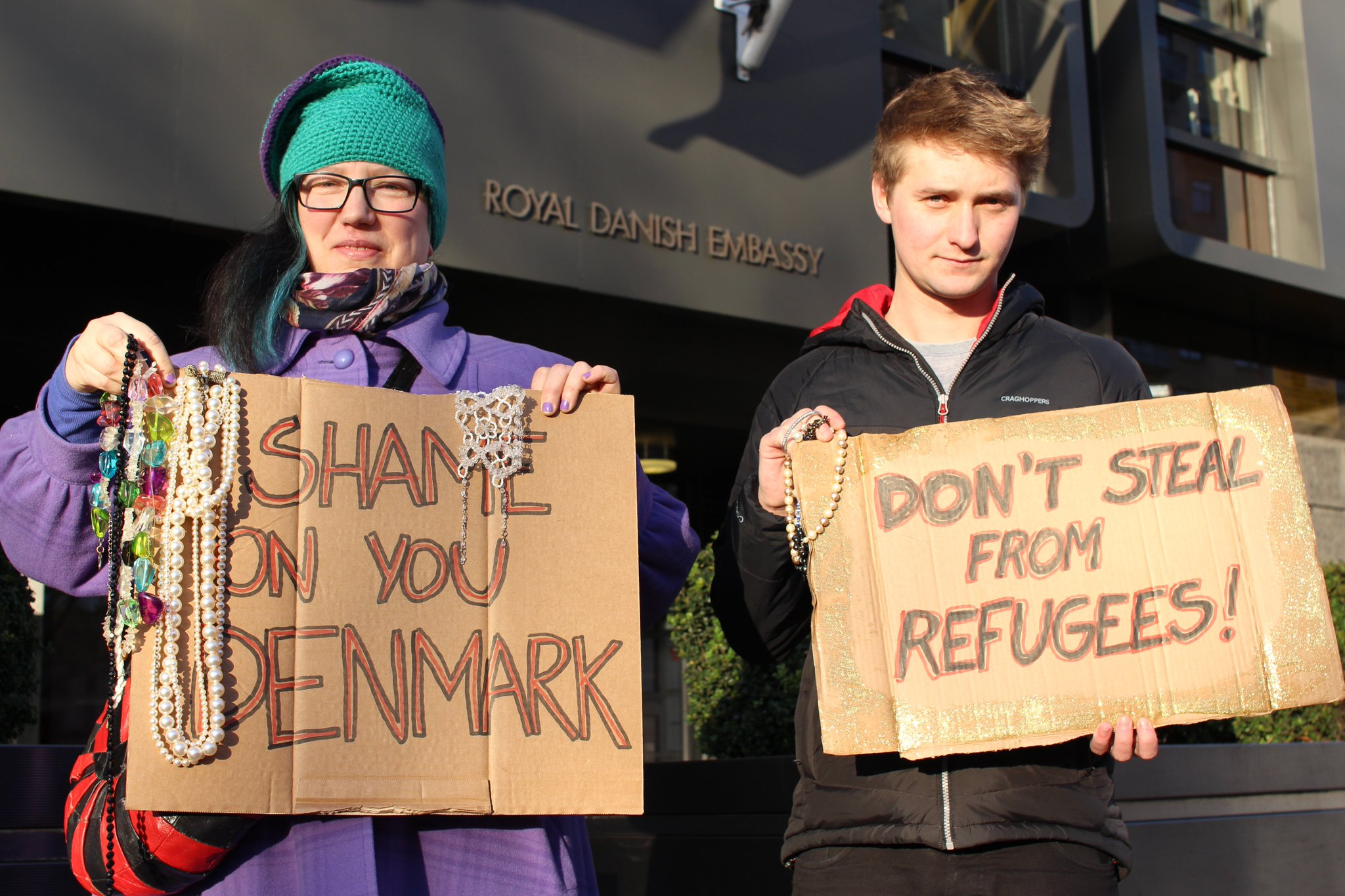 LGBTQ pro-refugee demonstrators at Danish embassy in London