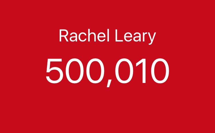 RT @rach_leary: HALF A MIL 🥂🎊🎉 I CANT BELIEVE IT! I love you all so much 😩❤️❤️❤️ https://t.co/DFZWBbRSa7