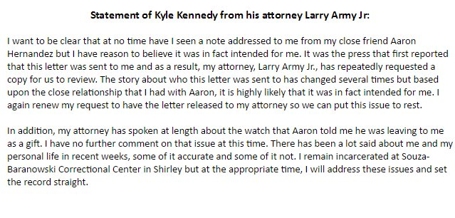 JUST IN: New statement from Kyle Kennedy&#39;s attorney- renewing call for letter to be released @abc6 #Hernandez <br>http://pic.twitter.com/iCAf1LftGC
