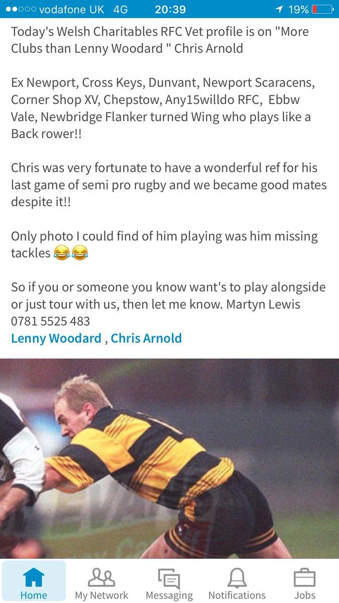Today&#39;s @WelshCharRFC #Profile is @crosskeysrfc @NewportRFC @evrfc @newbridgerfc etc Chris Arnold. #Charity #Rugby7s #socksdown #Vets10 <br>http://pic.twitter.com/1uwq0Ku28u