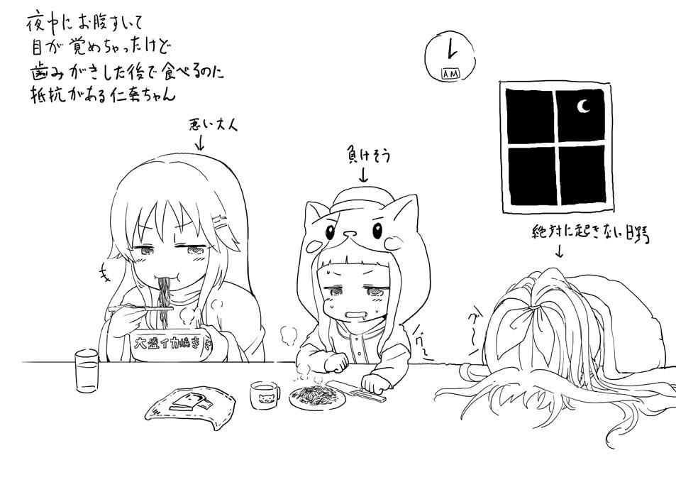配信で「夜中に大盛イカ焼きそばを食べる市原仁奈ちゃん」というリクを受けたのでシンデレラ劇場464話の姫川友紀ちゃんの話のアフター的なのを描きました