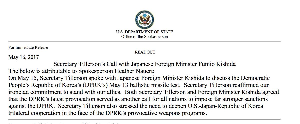 .@StateDept confirms Secretary of State Tillerson's call with Japan foreign minister Kishida about DPRK missile launch.