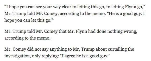 """Trump to Comey, asking him to end Flynn investigation: """"He is a good guy. I hope you can let this go."""" via @nytmike https://t.co/z8joXB2bSm"""