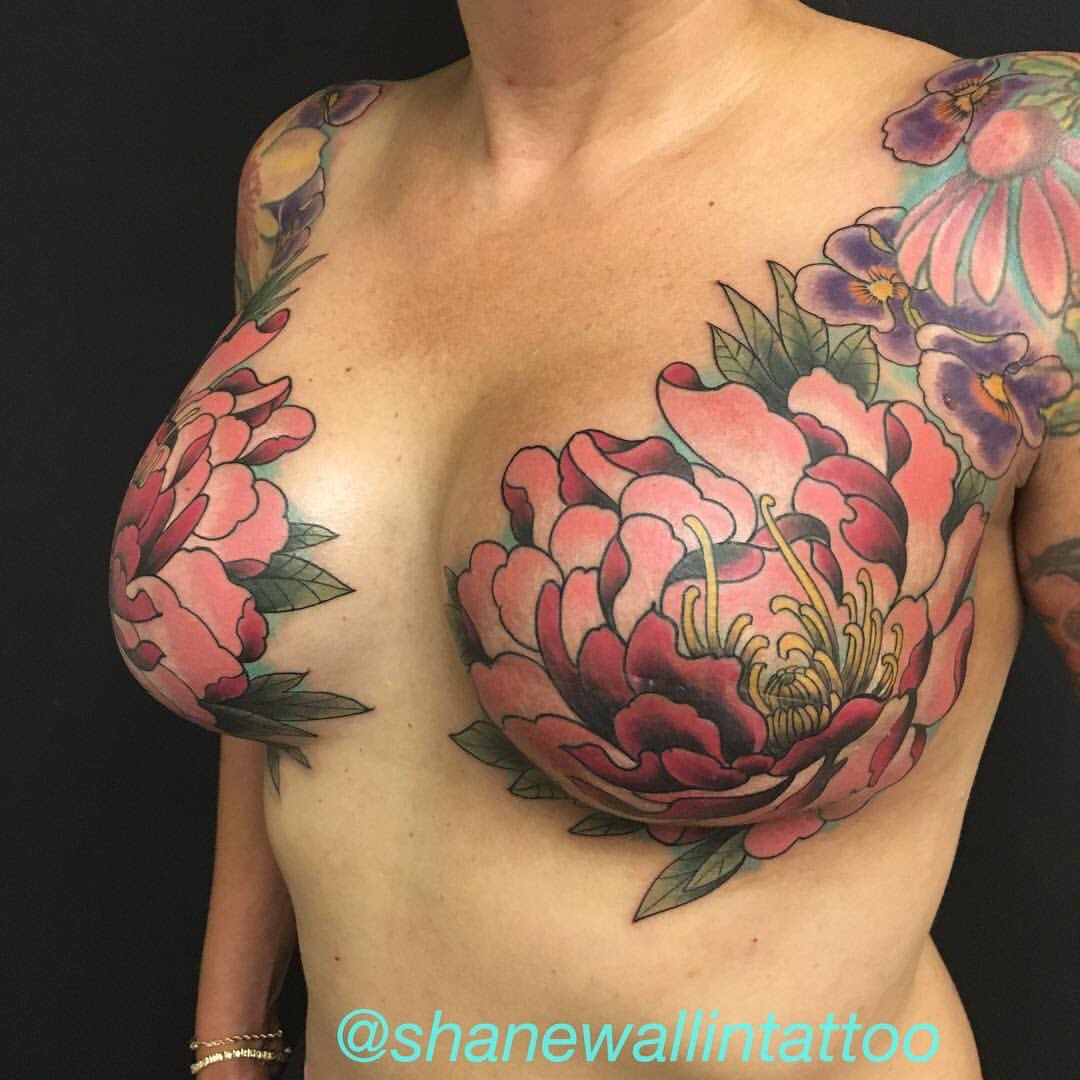 Breast cancer bra tattoo with