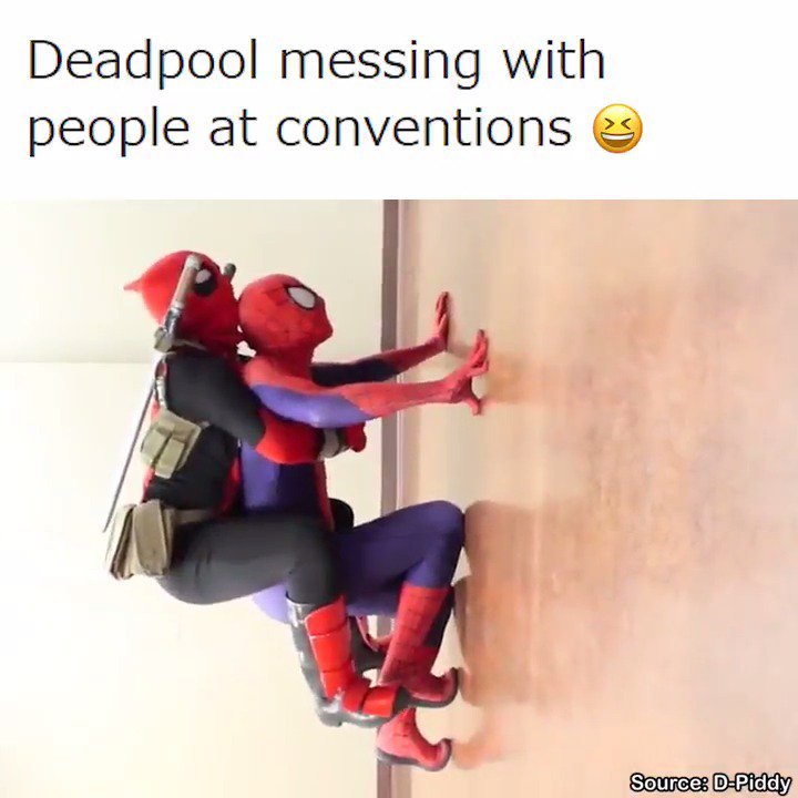 Deadpool messing with people at conventions.