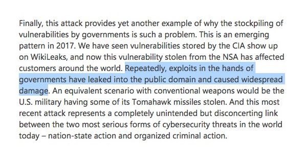 Let me put this politely.  Microsoft is royally fucked off with the NSA.  https://t.co/5IwqK4VXjw #WannaCry https://t.co/NJNk8UhLEf