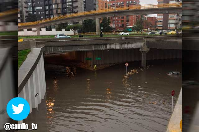 Flooding after heavy rain in the north of Bogota