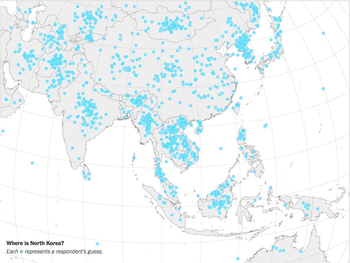 Each dot is a US adult's guess about the location of North Korea https://t.co/t8MJNNSiXF https://t.co/N0zqK8aHQk