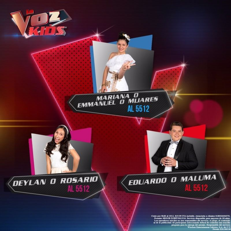 ¡Es hora de elegir a tu favorito! #MarianaNájera, #EduardoBarba y #DeylanLópez quieren tu voto #LaVozKids #LaVozKidsFinal ✌🎤 https://t.co/pNfUlcqMEF