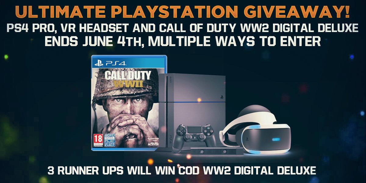 Giving away a PS4, VR headset and COD WWII!!! Retweet this and follow for a bonus entry!  Enter multiple ways here https://t.co/CefdXLrRWH https://t.co/Zvq9GZElHy