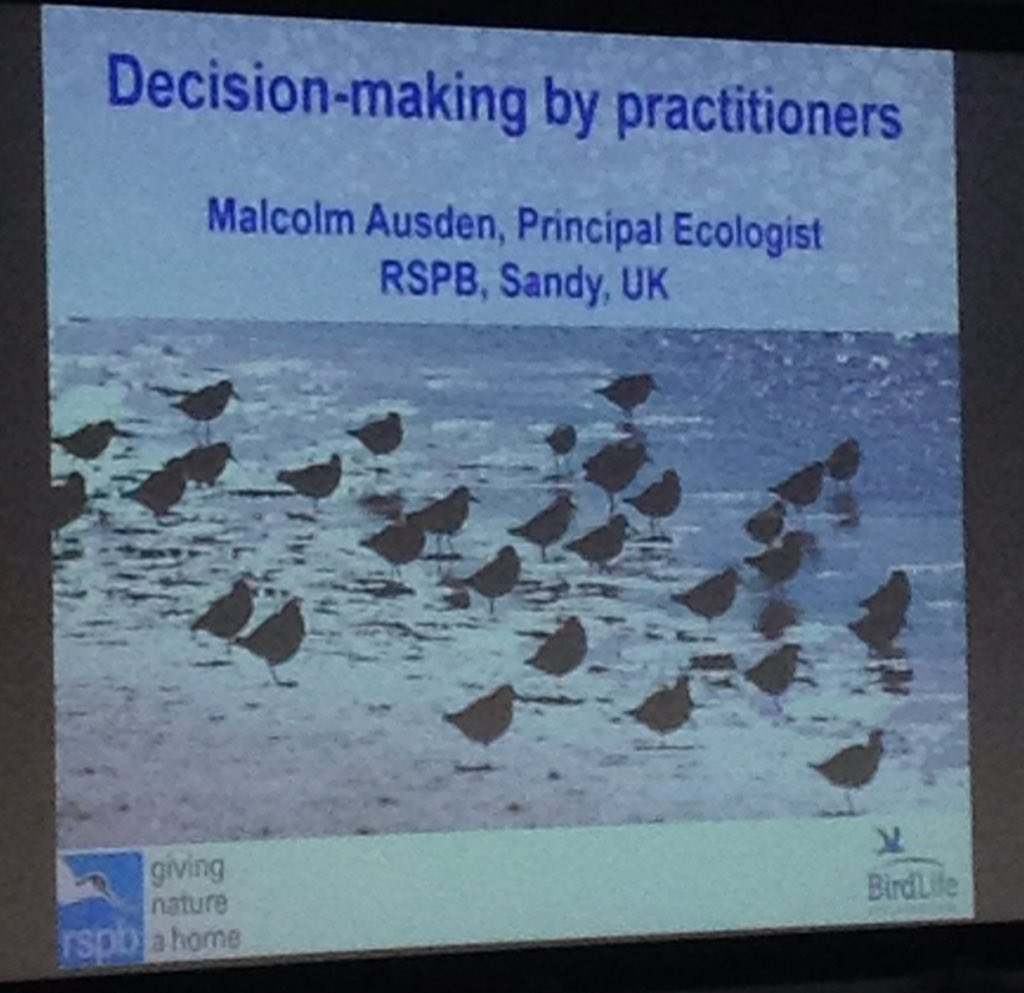 About to hear about decision tools in practitioners workflows @RSPBScience #ConservationDecisions @cambridge_uccri @LucHoffmannInst https://t.co/YUTQc40MYh