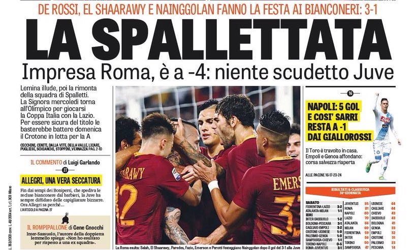 #GdS:  - The Spallettata  - #Lemina deceives, then #Spalletti&#39;s team comes back  - #Juve return to #Olimpico on Wednesday for #TIMCup final<br>http://pic.twitter.com/4VbjKgZc8k