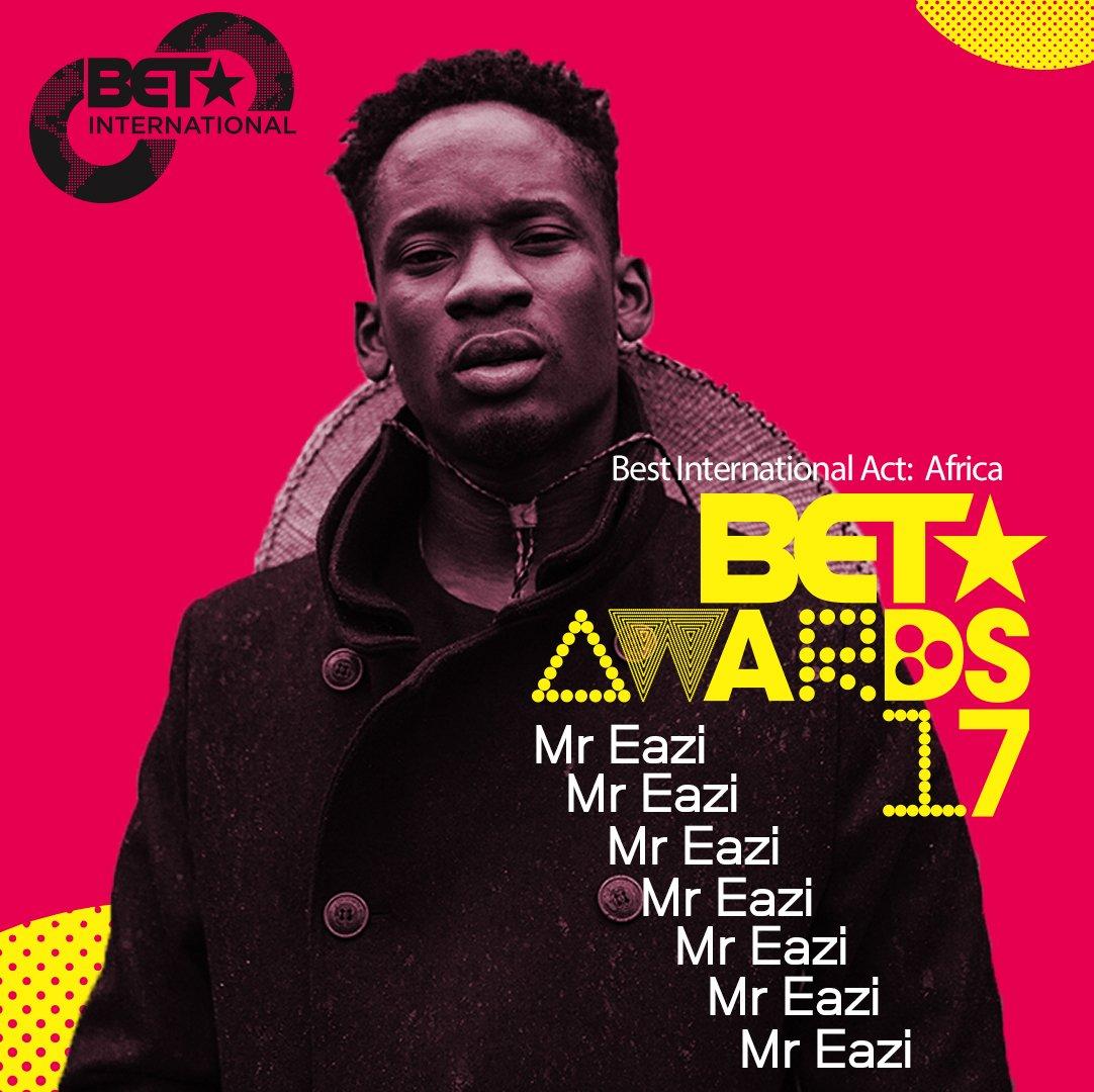 @mreazi #BestIntlActAfrica #BETAwards 2017! https://t.co/lGeWm8s8iF